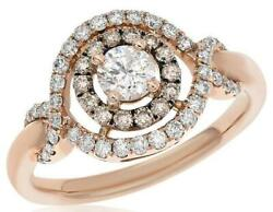 .89ct White And Mocha Diamond 14kt Rose Gold 3d Solitaire Infinity Engagement Ring
