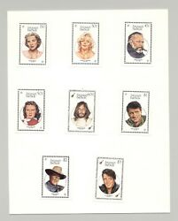 Antigua 1040-1047 Entertainers Cinema Music 8v Imperf Proofs Mounted On Card