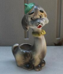 Vintage Dog Toothpick Holder Japan He's Wearing A Green Hat Yellow Bowtie 5