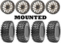 Kit 4 Maxxis Rampage Tires 32x10-14 On System 3 St-3 Bronze Wheels H700