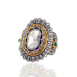 Solid 14k Gold 1.59ct Pave Diamond Gemstone Women Ring 925 Silver Ethnic Jewelry