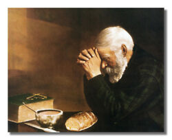 Daily Bread Man Praying at Table Grace Religious Wall Picture 8x10 Art Print