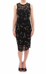 Dolce & Gabbana Black floral lace crystal embedded dress GSD12635