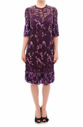 Dolce & Gabbana Purple floral lace crystal embedded dress GSD12637