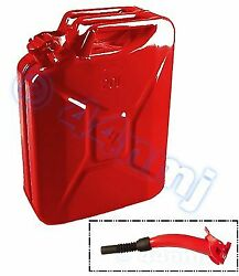 20lt Metal Jerry Can And Spout For Fuel Petrol Diesel Red