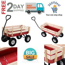 Outdoor Pulling Garden Cart Wagon With Wood Railing For Kids Loading Pull Cart
