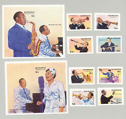 St Vincent 1142-51 Entertainers Jazz And Big Band Music 8v And 2v S/s Imperf Proofs