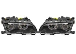 Pair Set Of Left And Right Genuine Black Bi-xenon Headlights Lamps For Bmw E46 M3
