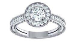 I1 G 1.50 Ct Real Diamond White Gold Halo Set Solitaire Wedding Engagement Ring
