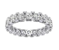 I1 G 4.25 Ct Natural Diamond Eternity Engagement Ring Band 14k Solid Gold 3.70mm
