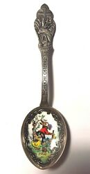 1966 Frohliche Ostern Germany Sterling Silver Enamel Easter Bunny Child Spoon