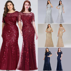 US Ever-Pretty Plus Size Long Sequins Evening Gowns Mermaid Celebrity Prom Dress