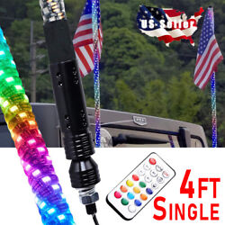 4ft Led Rgb Dancing Whip Lights With Remote Control For Atv Utv Rzr 4wd