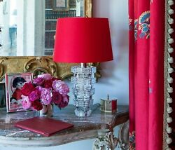 Baccarat Heritage Lamp With Red Shade