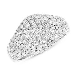Womens 1.81ct 14k White Gold Round Cut Diamond Pave Circle Dome Cocktail Ring