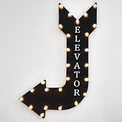 36 Elevator Curved Arrow Sign Light Up Metal Marquee Vintage Hotel Spa Going Up