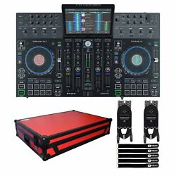 Denon Prime 4 4-deck Standalone Dj Controller System W 10 Screen And Red Case