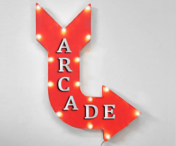 24 Arcade Curved Arrow Sign Light Up Rustic Metal Marquee Games Gaming Gamer