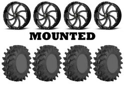 Kit 4 Sti Outback Max Tires 35x9-20 On Msa M36 Switch Black Wheels Can