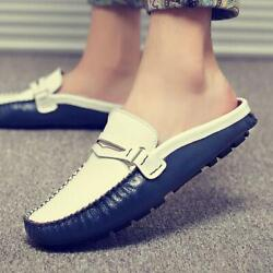 Mens Casual Shoes Loafer Flat Heels Slip On Moccasin-gommino Leather Mules 38-47