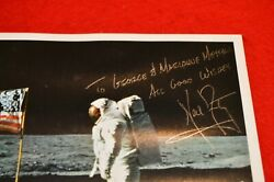 Neil Armstrong Signed Glossy 8x10 Flag On The Moon Photo Strong Signature