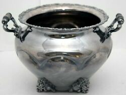 Eg Webster Antique Silver-plate Footed Serving Bowl Handles 1800s Holloware Rare