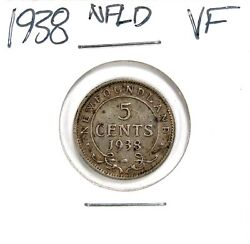 Lot of 6 1938 - 1945 Newfoundland Silver 5 Cents VF - XF+ Extra Fine+ #138868