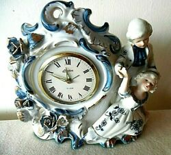 1960's Linden Windup Alarm Clock In A Colonial Couple Porcelain China Cabinet