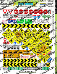 1/32, 1/43, O Scale Slot Car Signs - Reflective Scale Train Signs