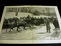 T. De Thulstrup Sleighing In Central Park Nyc Horse Sled 1888 Large Folio Print