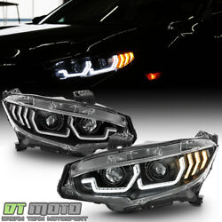 For 2016-2020 Honda Civic Black Led Tube Sequential Signal Projector Headlights