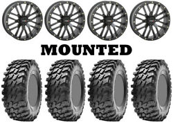 Kit 4 Maxxis Rampage Tires 32x10-14 On System 3 St-3 Matte Black Wheels Pol