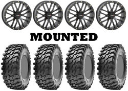 Kit 4 Maxxis Rampage Tires 32x10-14 On System 3 St-3 Matte Black Wheels 550