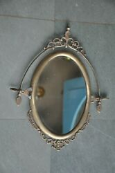 Old Brass Oval Shape Cut Work Handcrafted Vanity Mirror , Collectible