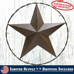 Large Western 25quot; Brown Metal TEXAS Barn Star Home Wall Outdoor Decor