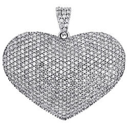 14k White Gold Round Cut Diamond Puff Heart Pendant 1.10 Domed Pave Charm 2 Ct.