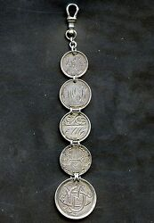 Antique 5 Silver Coin Love Token Fob Canada Victoria 25 Cent 3 10 Cents And 5 Cent