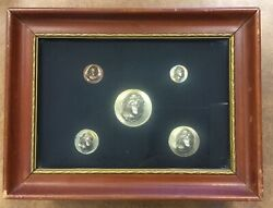 Vintage 1896 Morgan Silver Dollar Repoussé Pop Out Punched 5 Coins In Shadow Box