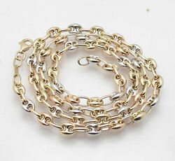 5mm Puffed Mariner Anchor Link Chain Necklace Real 14k Tri-color Gold