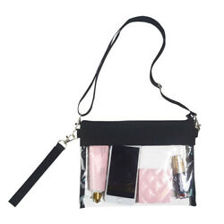 Clear Cross Body Purse Bag Stadium Approved Shoulder Tote Bag With Wrist Strap $7.49