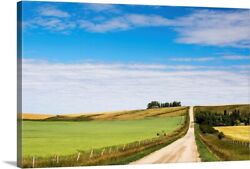 Gravel Road With An Oat Field And A Canvas Wall Art Print, Countryside Home