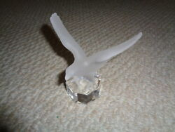 Goebel 1987 Glass Eagle Figurine Frosted Bird Clear Octagon Base Signed Thick