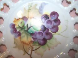Lefton China Plate Collector Dish Hand Painted Grapes