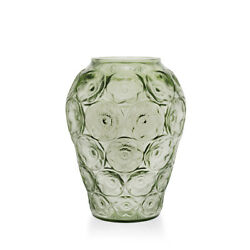 Lalique  Anemones Vase 13in Green Crystal 11lb Floral Design mint in box