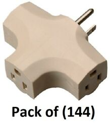 144 Me 09902-97me Beige Vinyl Grounded Electrical 3 Way Plug Cube Taps