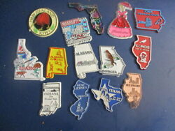 Lot Of 12 Usa States Die Cut Kitchen Magnets + New Zealand Kiwi Magnet 13 Total