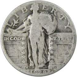 1928 D Standing Liberty Quarter Ag About Good 90 Silver 25c Us Type Coin