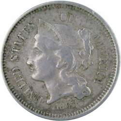 1867 Three Cent Piece Vf Very Fine Nickel 3c Us Type Coin Collectible