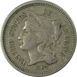 1867 Three Cent Piece F Fine Nickel 3c Us Type Coin Collectible