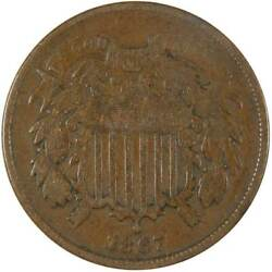 1867 Two Cent Piece Vg Very Good Bronze 2c Us Type Coin Collectible